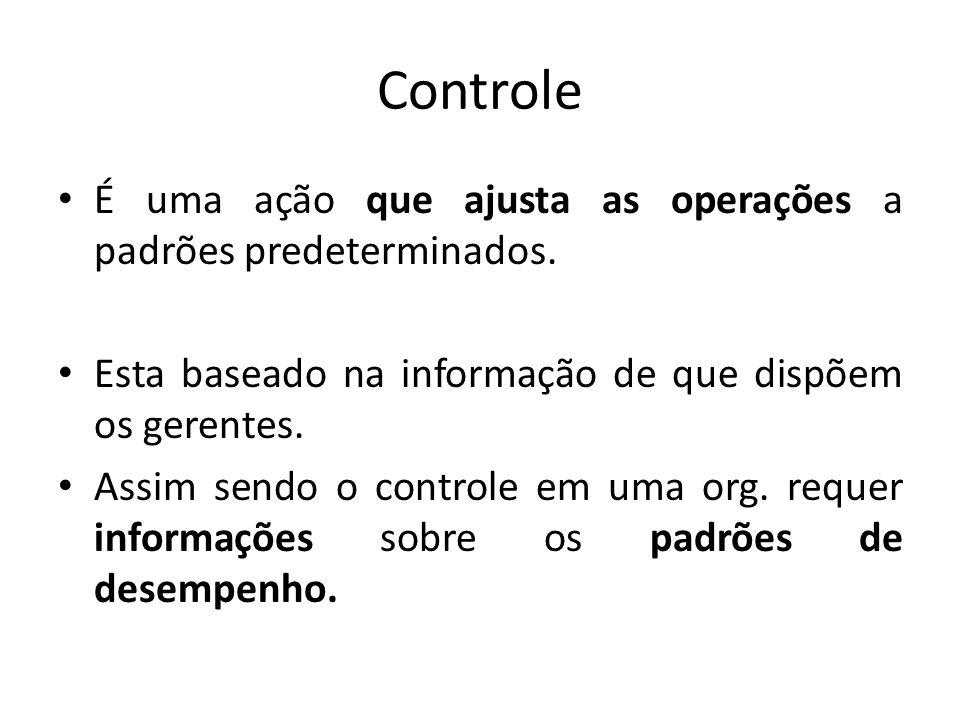 Controle É uma ação que ajusta as operações a padrões predeterminados. Esta baseado na informação de que dispõem os gerentes. Assim sendo o controle e