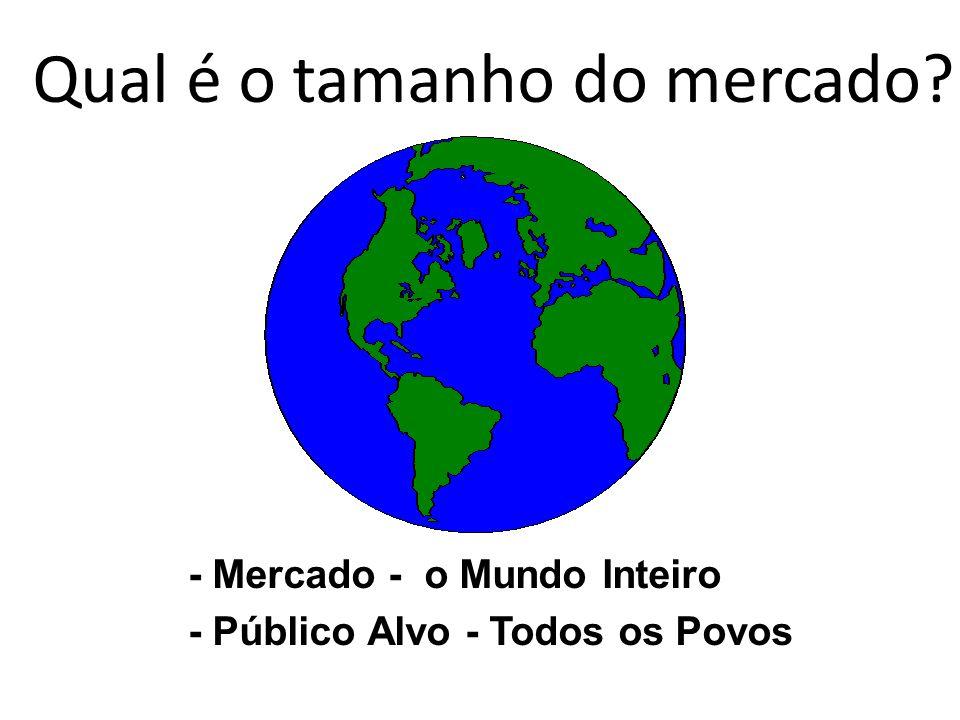 - Mercado - o Mundo Inteiro - Público Alvo - Todos os Povos Qual é o tamanho do mercado?