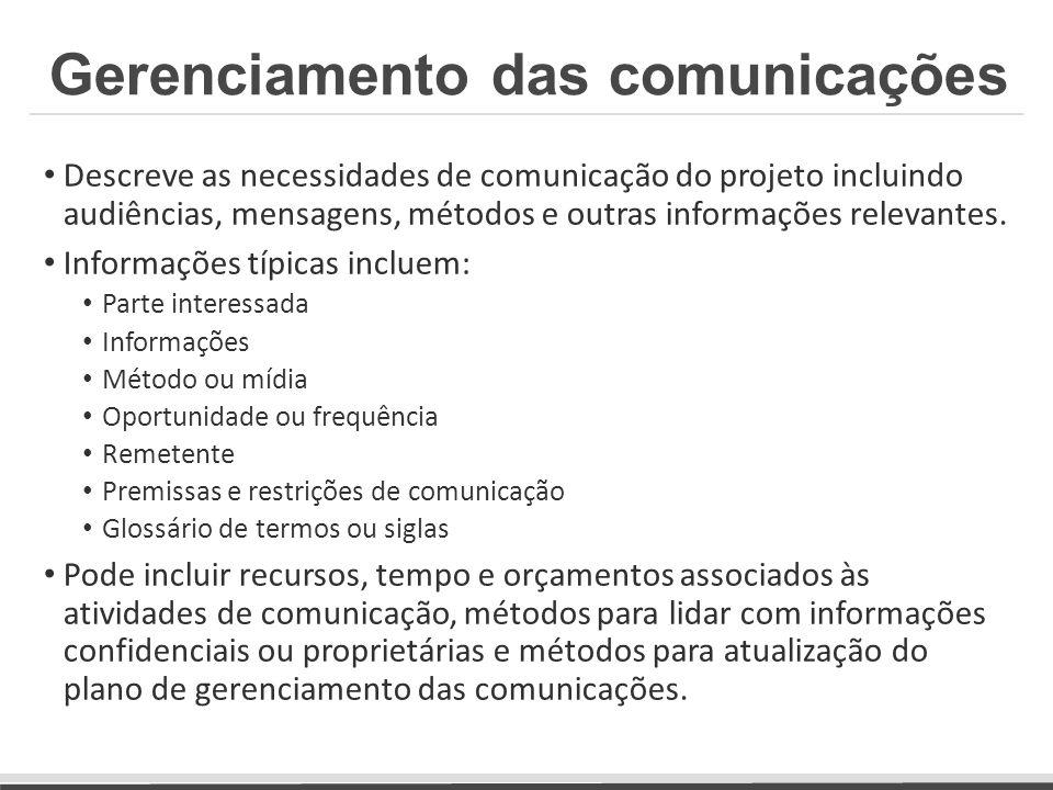 Descreve as necessidades de comunicação do projeto incluindo audiências, mensagens, métodos e outras informações relevantes. Informações típicas inclu