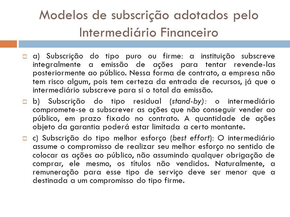 Modelos de subscrição adotados pelo Intermediário Financeiro a) Subscrição do tipo puro ou firme: a instituição subscreve integralmente a emissão de a