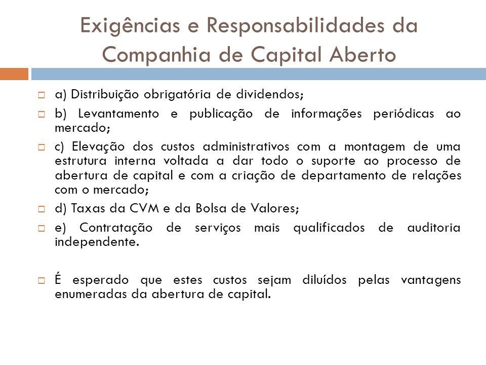 Exigências e Responsabilidades da Companhia de Capital Aberto a) Distribuição obrigatória de dividendos; b) Levantamento e publicação de informações p