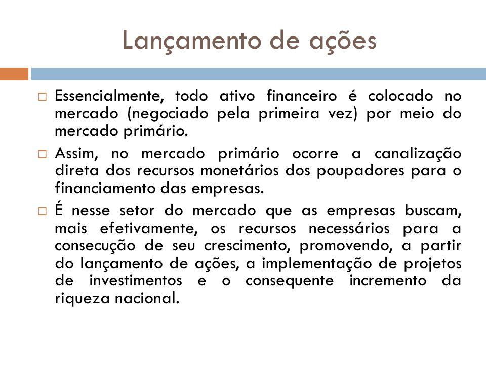 Lançamento de ações Essencialmente, todo ativo financeiro é colocado no mercado (negociado pela primeira vez) por meio do mercado primário. Assim, no