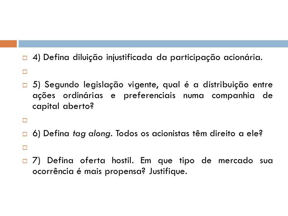 4) Defina diluição injustificada da participação acionária. 5) Segundo legislação vigente, qual é a distribuição entre ações ordinárias e preferenciai