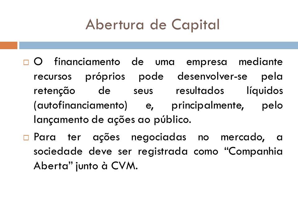 Abertura de Capital O financiamento de uma empresa mediante recursos próprios pode desenvolver-se pela retenção de seus resultados líquidos (autofinan