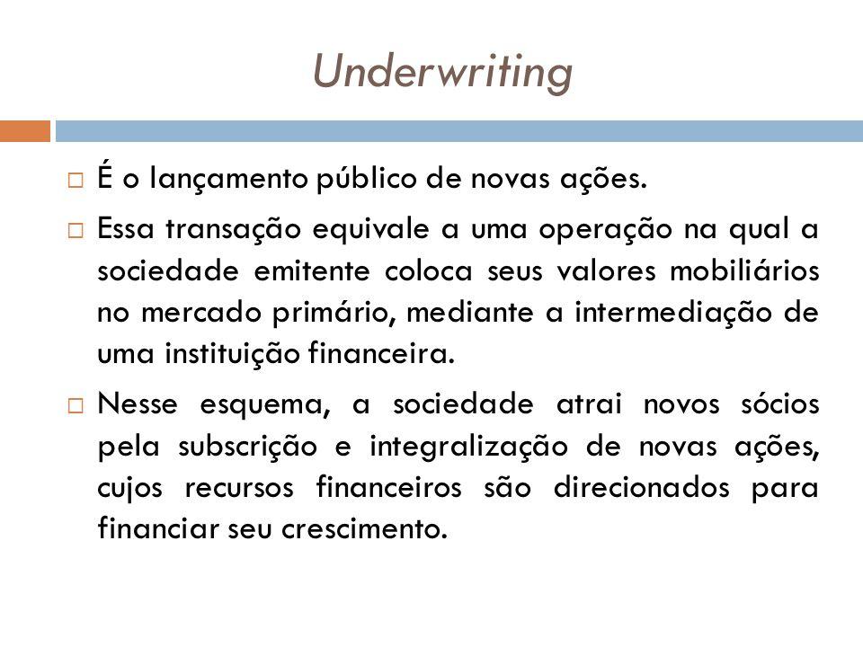 Underwriting É o lançamento público de novas ações. Essa transação equivale a uma operação na qual a sociedade emitente coloca seus valores mobiliário
