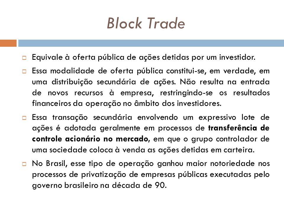 Block Trade Equivale à oferta pública de ações detidas por um investidor. Essa modalidade de oferta pública constitui-se, em verdade, em uma distribui