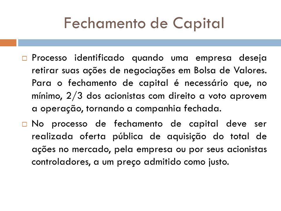 Fechamento de Capital Processo identificado quando uma empresa deseja retirar suas ações de negociações em Bolsa de Valores. Para o fechamento de capi