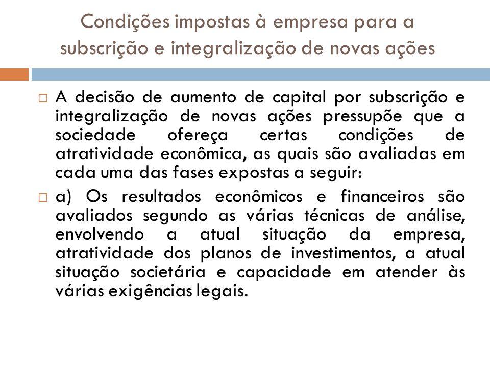 Condições impostas à empresa para a subscrição e integralização de novas ações A decisão de aumento de capital por subscrição e integralização de nova