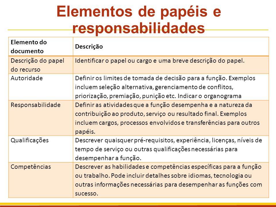 Elementos de papéis e responsabilidades Elemento do documento Descrição Descrição do papel do recurso Identificar o papel ou cargo e uma breve descriç