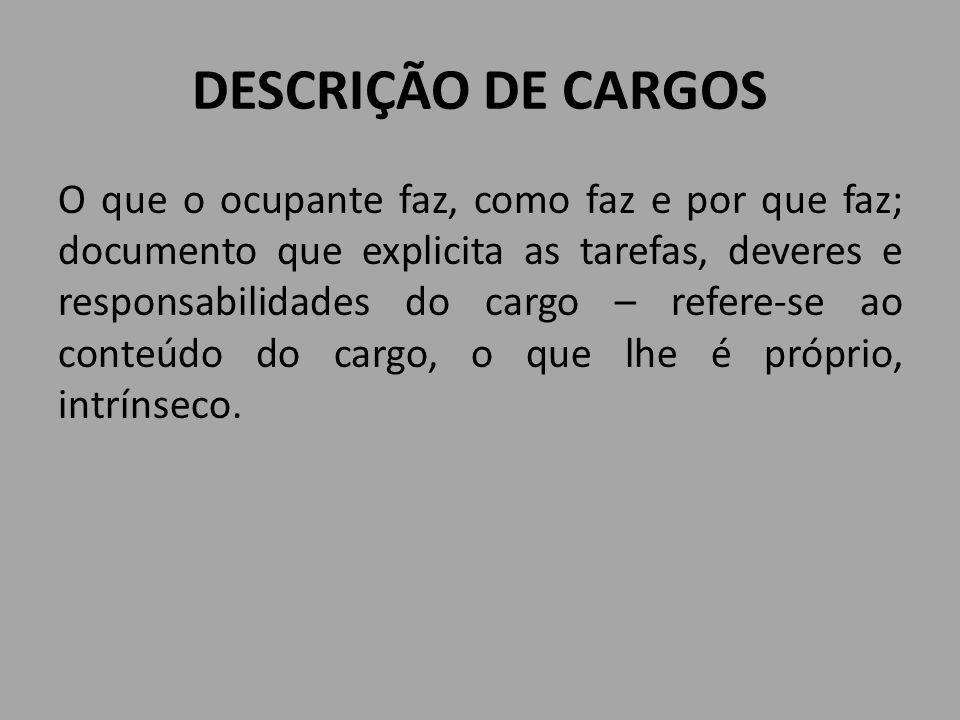 DESCRIÇÃO DE CARGOS O que o ocupante faz, como faz e por que faz; documento que explicita as tarefas, deveres e responsabilidades do cargo – refere-se