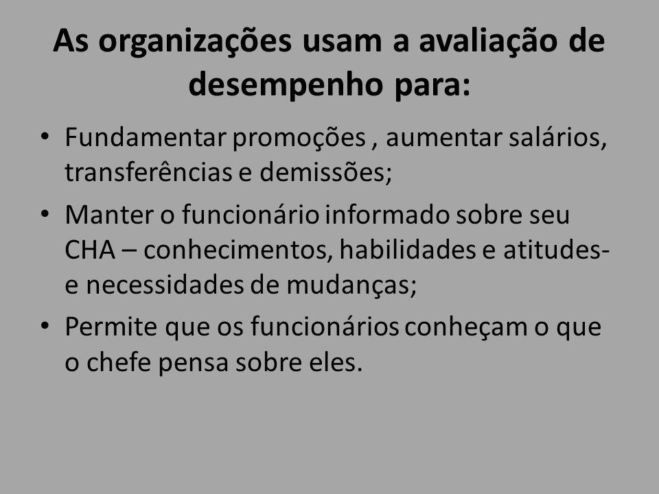 As organizações usam a avaliação de desempenho para: Fundamentar promoções, aumentar salários, transferências e demissões; Manter o funcionário inform