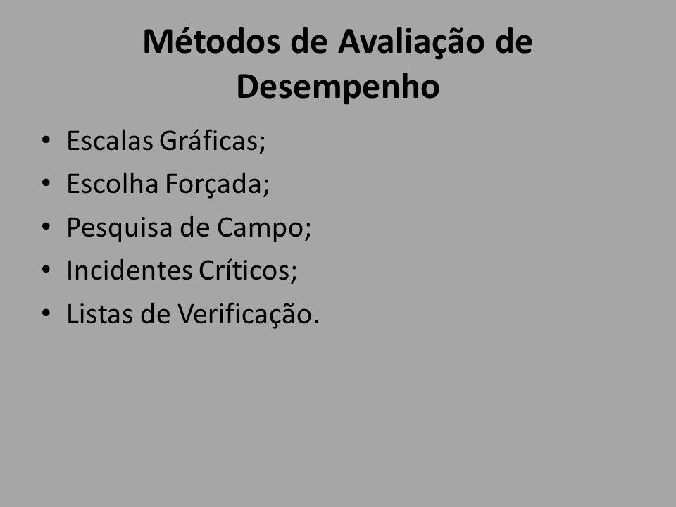 Métodos de Avaliação de Desempenho Escalas Gráficas; Escolha Forçada; Pesquisa de Campo; Incidentes Críticos; Listas de Verificação.