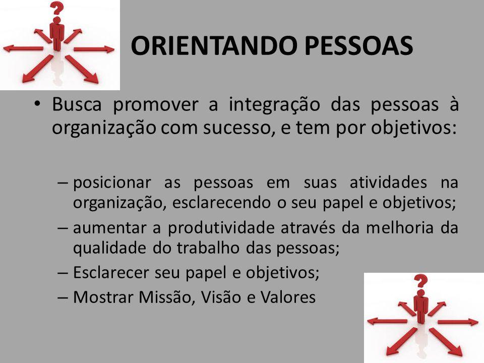 ORIENTANDO PESSOAS Busca promover a integração das pessoas à organização com sucesso, e tem por objetivos: – posicionar as pessoas em suas atividades