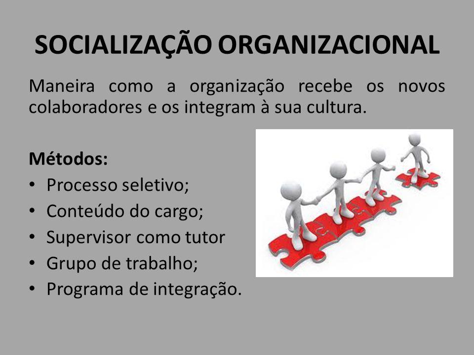 SOCIALIZAÇÃO ORGANIZACIONAL Maneira como a organização recebe os novos colaboradores e os integram à sua cultura. Métodos: Processo seletivo; Conteúdo