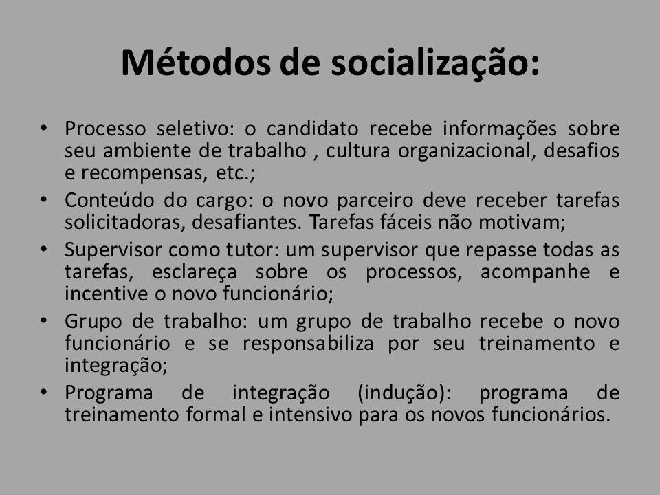 Métodos de socialização: Processo seletivo: o candidato recebe informações sobre seu ambiente de trabalho, cultura organizacional, desafios e recompen