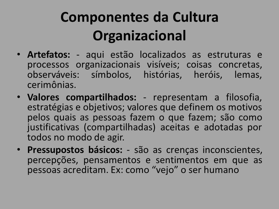 Componentes da Cultura Organizacional Artefatos: - aqui estão localizados as estruturas e processos organizacionais visíveis; coisas concretas, observ
