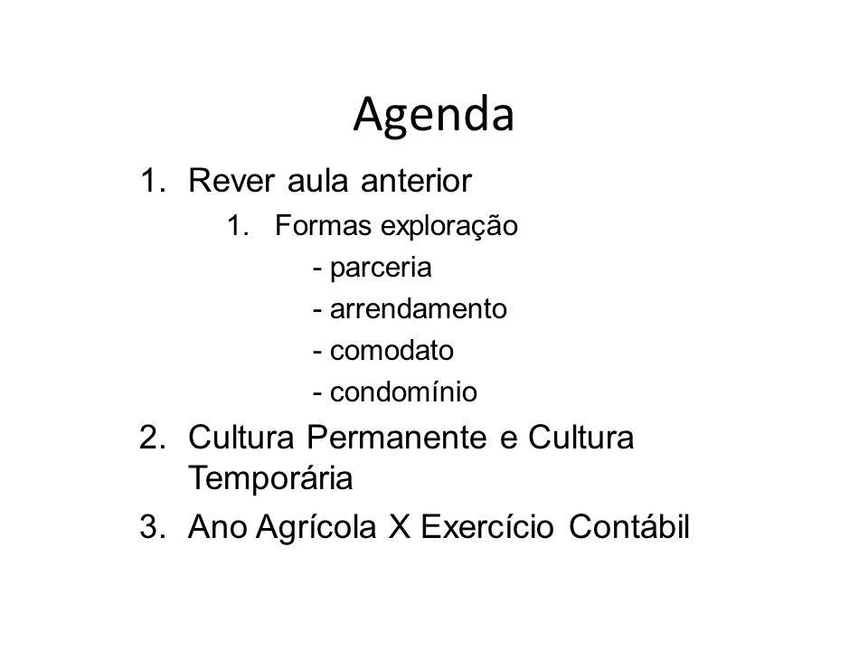 Agenda 1.Rever aula anterior 1.Formas exploração - parceria - arrendamento - comodato - condomínio 2.Cultura Permanente e Cultura Temporária 3.Ano Agr