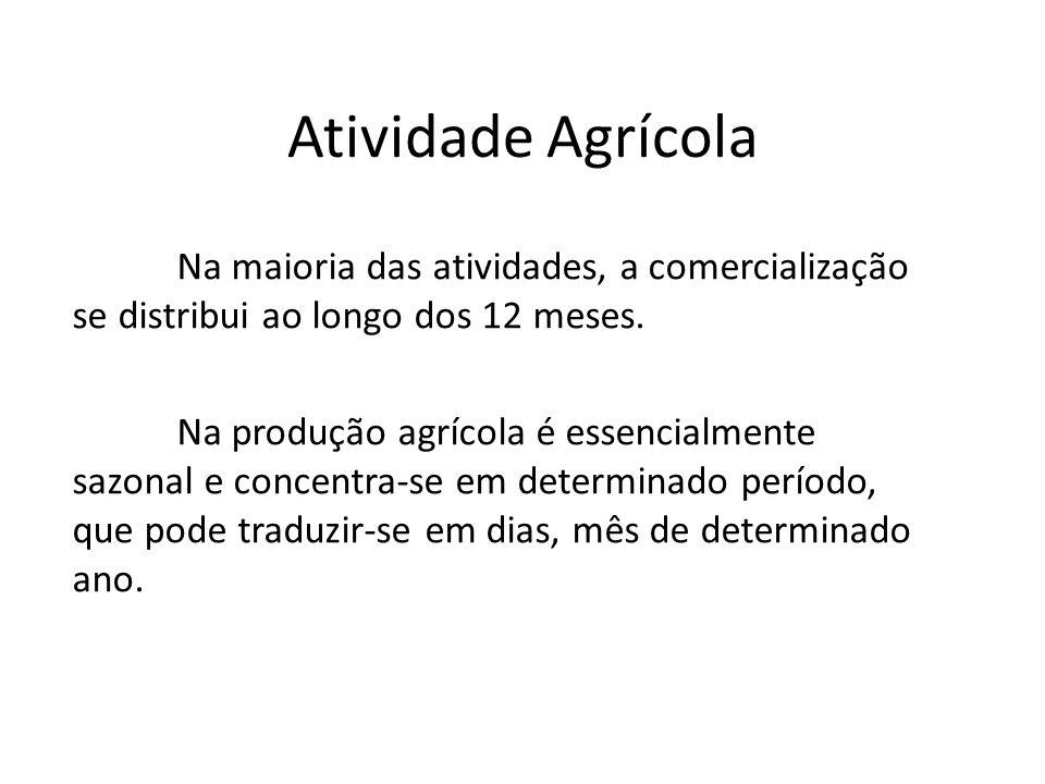 Atividade Agrícola Na maioria das atividades, a comercialização se distribui ao longo dos 12 meses. Na produção agrícola é essencialmente sazonal e co