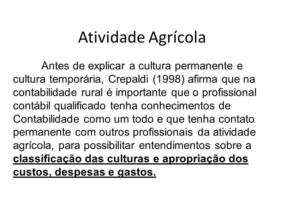 Atividade Agrícola Antes de explicar a cultura permanente e cultura temporária, Crepaldi (1998) afirma que na contabilidade rural é importante que o p