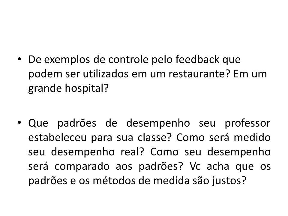 De exemplos de controle pelo feedback que podem ser utilizados em um restaurante.