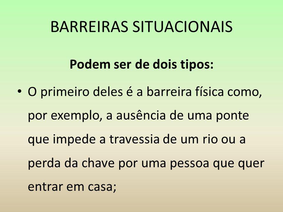BARREIRAS SITUACIONAIS Podem ser de dois tipos: O primeiro deles é a barreira física como, por exemplo, a ausência de uma ponte que impede a travessia