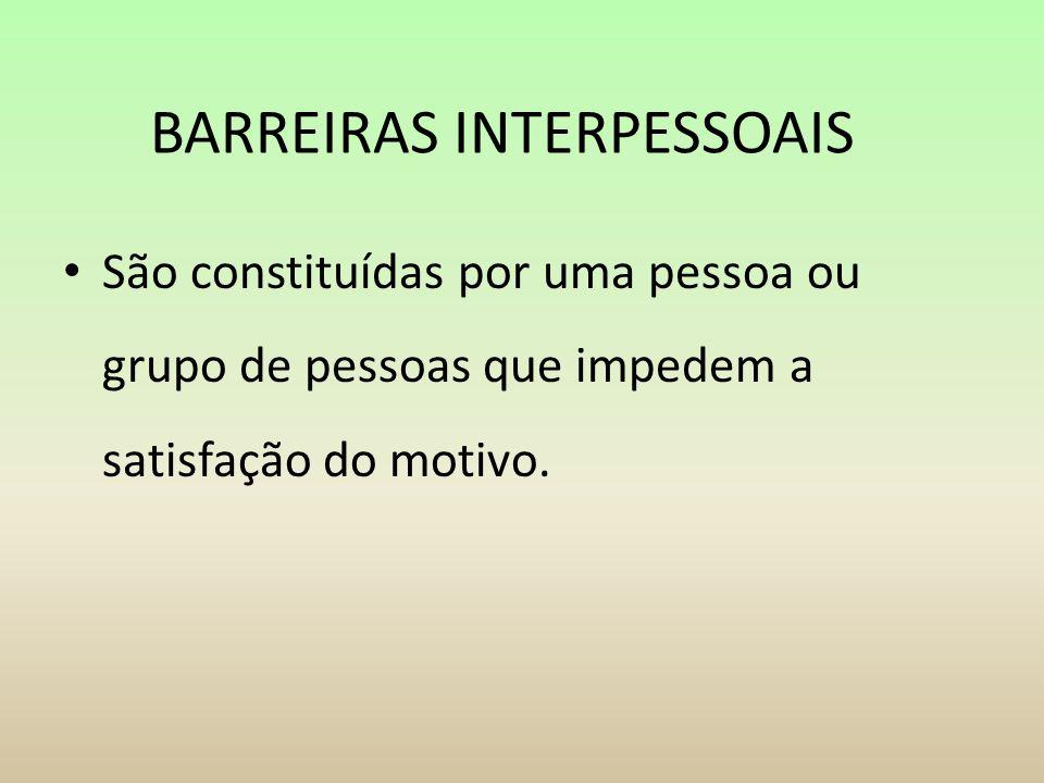 BARREIRAS INTERPESSOAIS São constituídas por uma pessoa ou grupo de pessoas que impedem a satisfação do motivo.