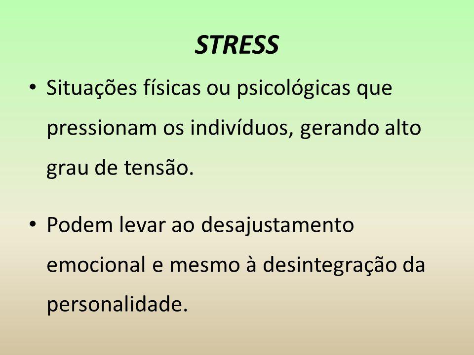 STRESS Situações físicas ou psicológicas que pressionam os indivíduos, gerando alto grau de tensão. Podem levar ao desajustamento emocional e mesmo à