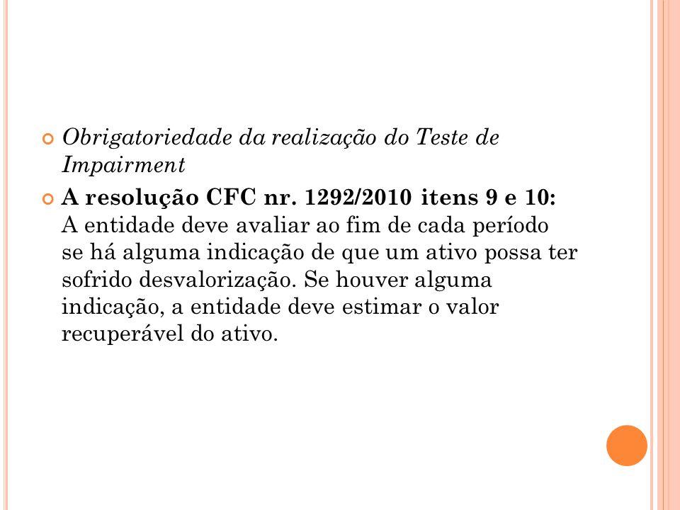 Obrigatoriedade da realização do Teste de Impairment A resolução CFC nr.