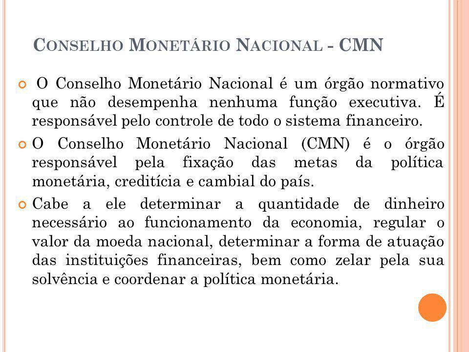 INTEGRANTES DO C ONSELHO M ONETÁRIO N ACIONAL Ministro da Fazenda (presidente); Ministro do Planejamento; Presidente do Banco Central.