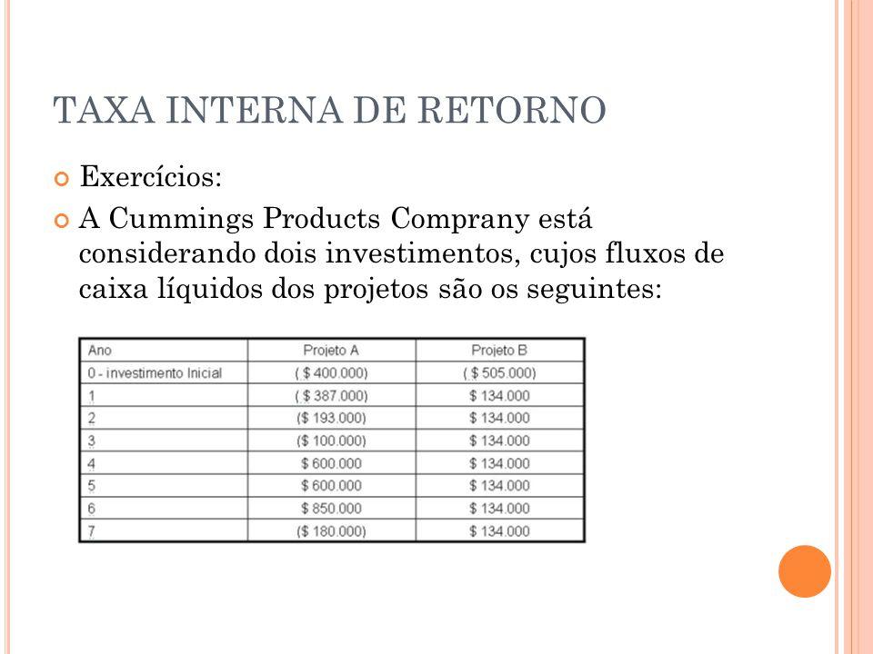 TAXA INTERNA DE RETORNO Exercícios: A Cummings Products Comprany está considerando dois investimentos, cujos fluxos de caixa líquidos dos projetos são os seguintes: