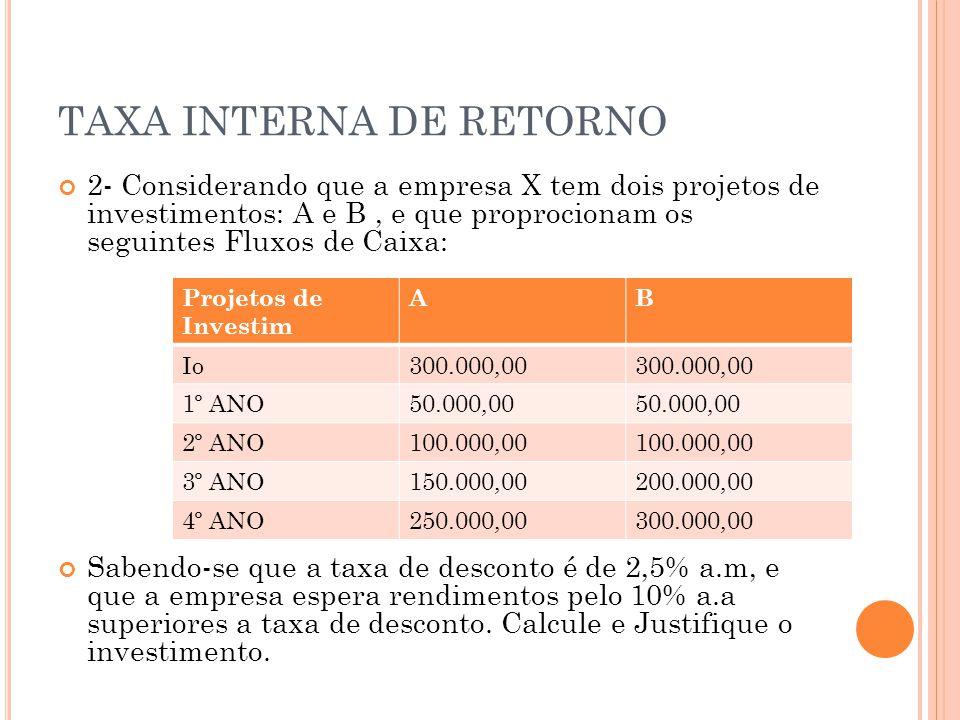 TAXA INTERNA DE RETORNO 2- Considerando que a empresa X tem dois projetos de investimentos: A e B, e que proprocionam os seguintes Fluxos de Caixa: Sabendo-se que a taxa de desconto é de 2,5% a.m, e que a empresa espera rendimentos pelo 10% a.a superiores a taxa de desconto.
