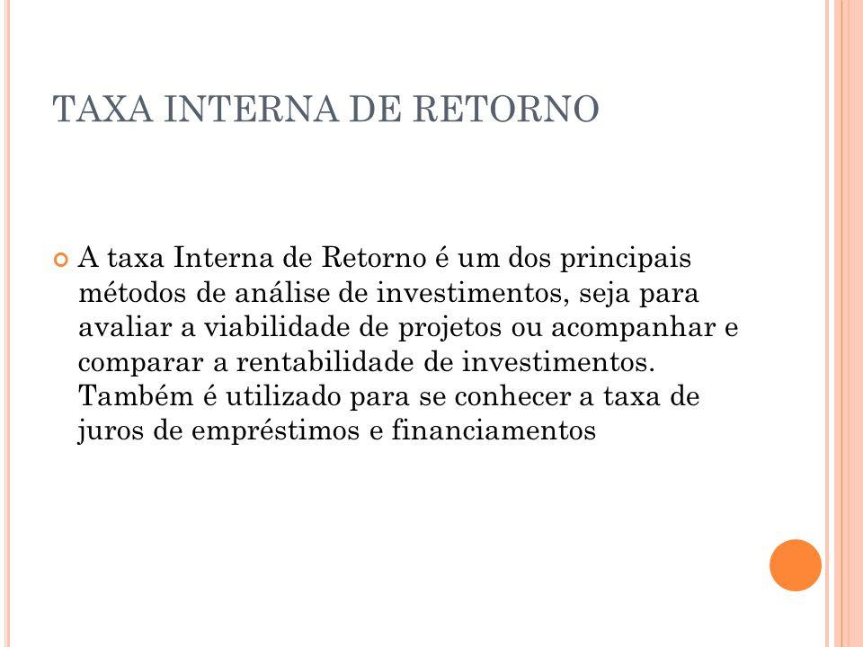 TAXA INTERNA DE RETORNO A taxa Interna de Retorno é um dos principais métodos de análise de investimentos, seja para avaliar a viabilidade de projetos ou acompanhar e comparar a rentabilidade de investimentos.
