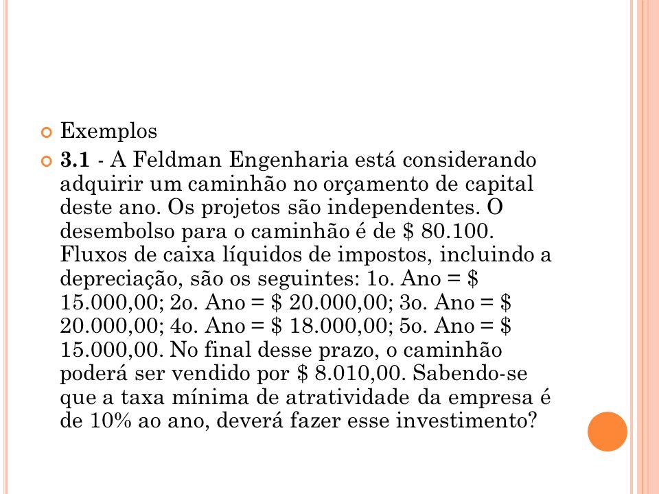 Exemplos 3.1 - A Feldman Engenharia está considerando adquirir um caminhão no orçamento de capital deste ano. Os projetos são independentes. O desembo