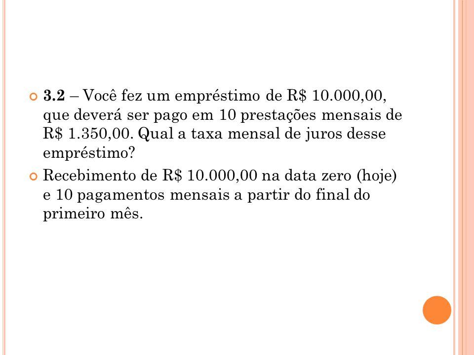 3.2 – Você fez um empréstimo de R$ 10.000,00, que deverá ser pago em 10 prestações mensais de R$ 1.350,00. Qual a taxa mensal de juros desse empréstim