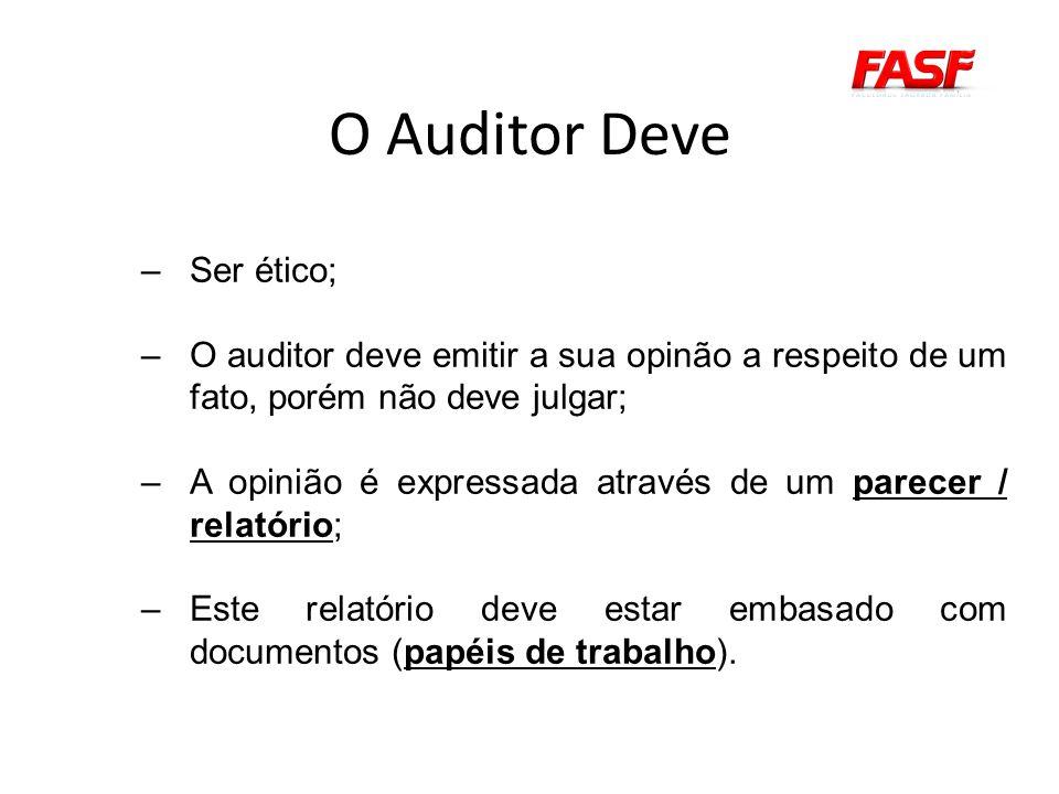 O Auditor Deve –Ser ético; –O auditor deve emitir a sua opinão a respeito de um fato, porém não deve julgar; –A opinião é expressada através de um parecer / relatório; –Este relatório deve estar embasado com documentos (papéis de trabalho).