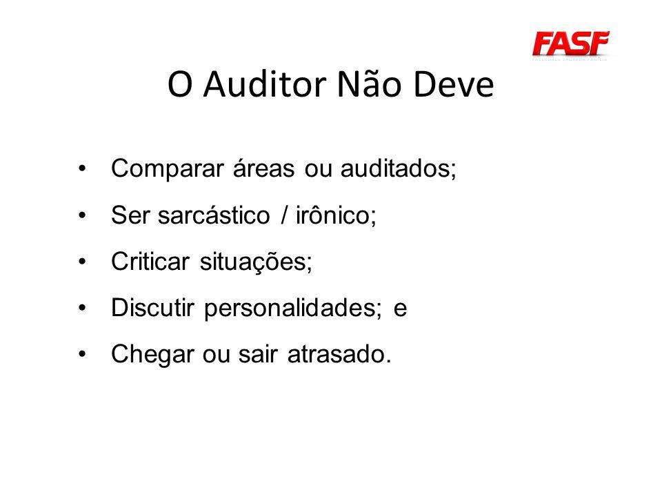 O Auditor Não Deve Comparar áreas ou auditados; Ser sarcástico / irônico; Criticar situações; Discutir personalidades; e Chegar ou sair atrasado.