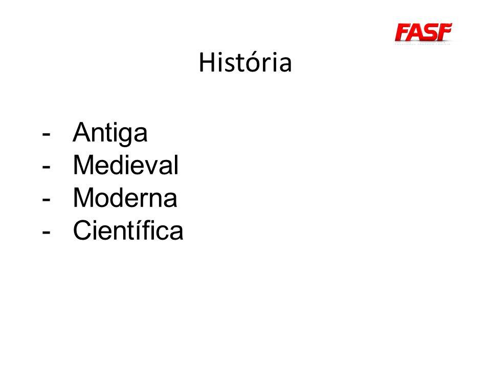 História -Antiga -Medieval -Moderna -Científica