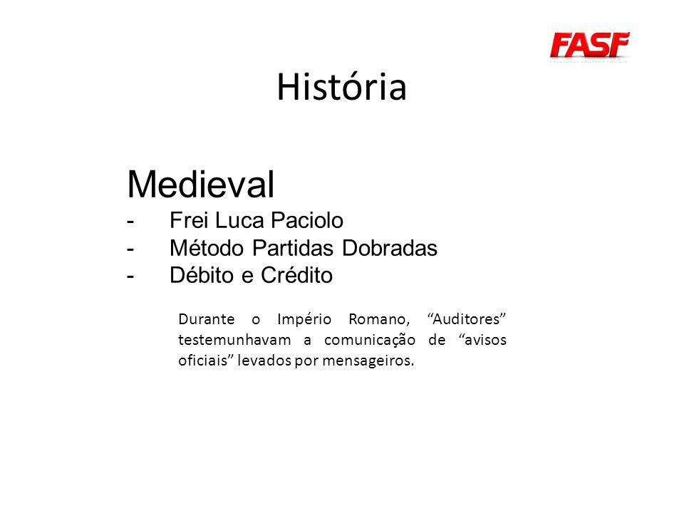 História Medieval -Frei Luca Paciolo -Método Partidas Dobradas -Débito e Crédito Durante o Império Romano, Auditores testemunhavam a comunicação de avisos oficiais levados por mensageiros.