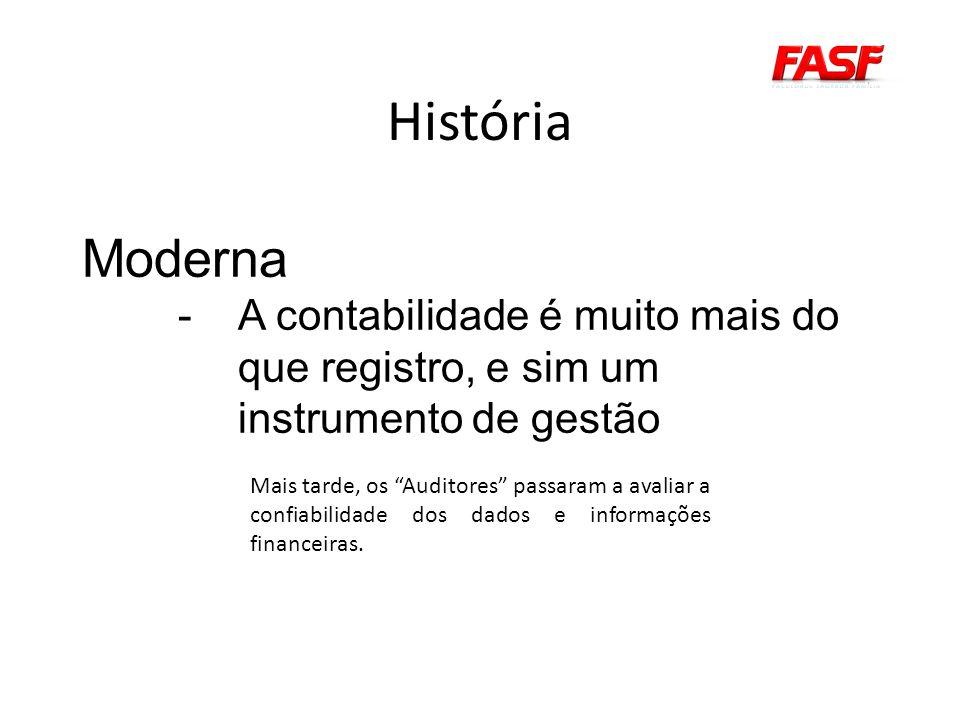 História Moderna -A contabilidade é muito mais do que registro, e sim um instrumento de gestão Mais tarde, os Auditores passaram a avaliar a confiabilidade dos dados e informações financeiras.