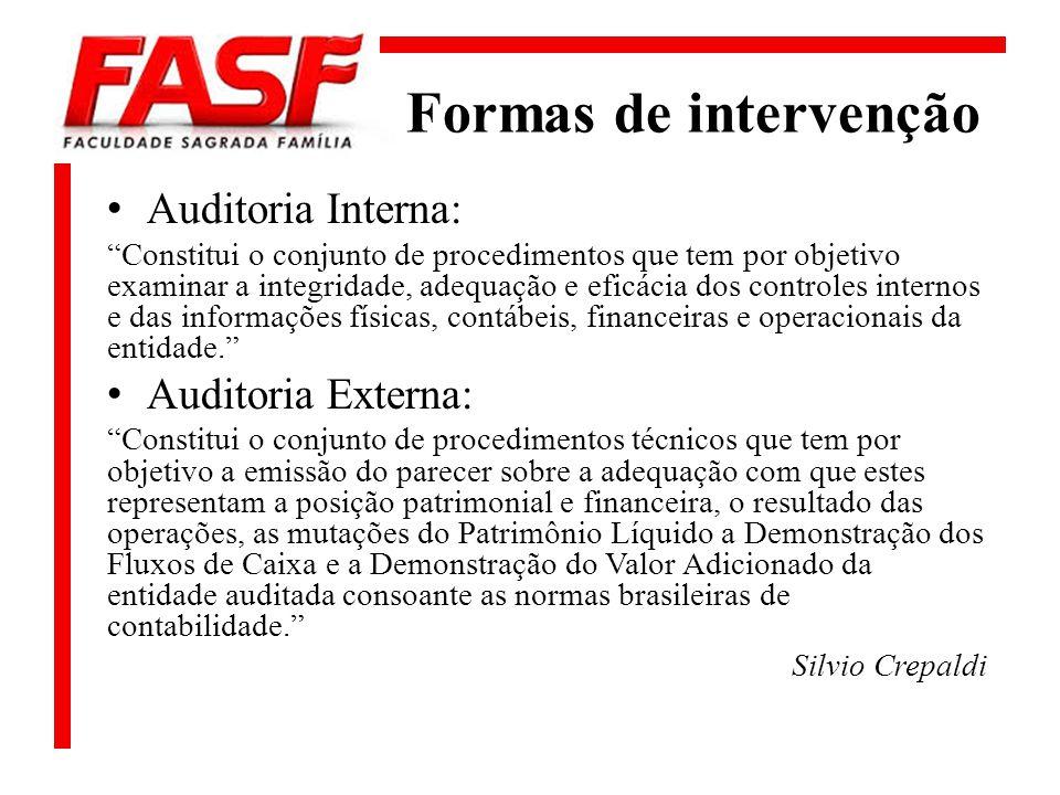 Formas de intervenção Auditoria Interna: Constitui o conjunto de procedimentos que tem por objetivo examinar a integridade, adequação e eficácia dos c