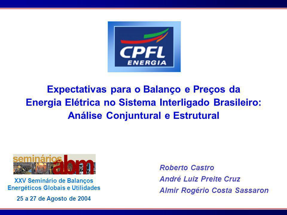 Expectativas para o Balanço e Preços da Energia Elétrica no Sistema Interligado Brasileiro: Análise Conjuntural e Estrutural Roberto Castro André Luiz