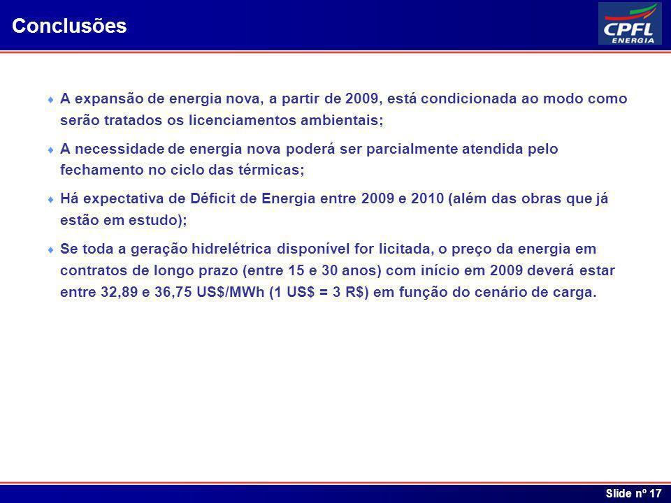 Índice Slide nº 17 Conclusões A expansão de energia nova, a partir de 2009, está condicionada ao modo como serão tratados os licenciamentos ambientais