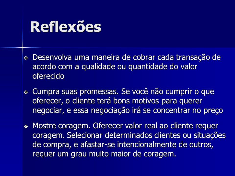 Reflexões Desenvolva uma maneira de cobrar cada transação de acordo com a qualidade ou quantidade do valor oferecido Desenvolva uma maneira de cobrar