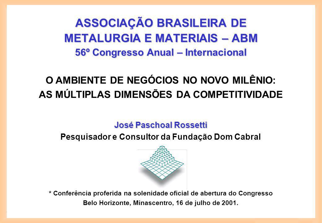 José Paschoal Rossetti 1 ASSOCIAÇÃO BRASILEIRA DE METALURGIA E MATERIAIS – ABM 56º Congresso Anual – Internacional José Paschoal Rossetti Pesquisador