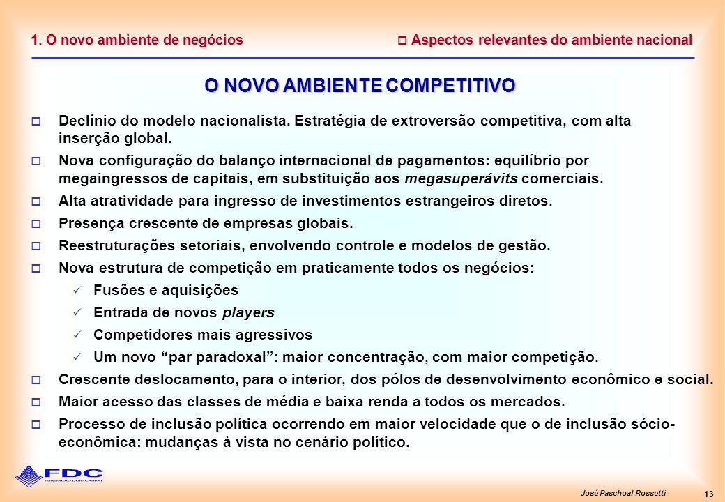 José Paschoal Rossetti 13 1. O novo ambiente de negócios Aspectos relevantes do ambiente nacional Aspectos relevantes do ambiente nacional O NOVO AMBI