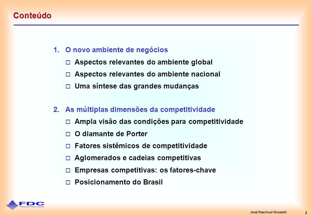 José Paschoal Rossetti 2 Conteúdo 1.O novo ambiente de negócios Aspectos relevantes do ambiente global Aspectos relevantes do ambiente nacional Uma síntese das grandes mudanças 2.As múltiplas dimensões da competitividade Ampla visão das condições para competitividade O diamante de Porter Fatores sistêmicos de competitividade Aglomerados e cadeias competitivas Empresas competitivas: os fatores-chave Posicionamento do Brasil