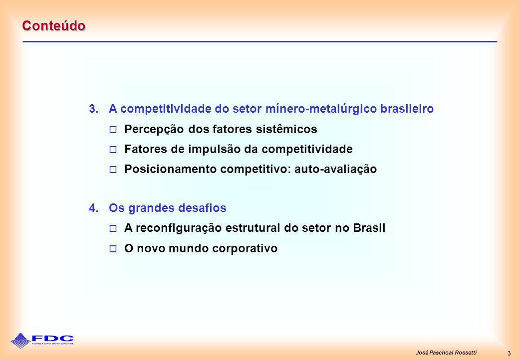 José Paschoal Rossetti 3 Conteúdo 3.A competitividade do setor mínero-metalúrgico brasileiro Percepção dos fatores sistêmicos Fatores de impulsão da c