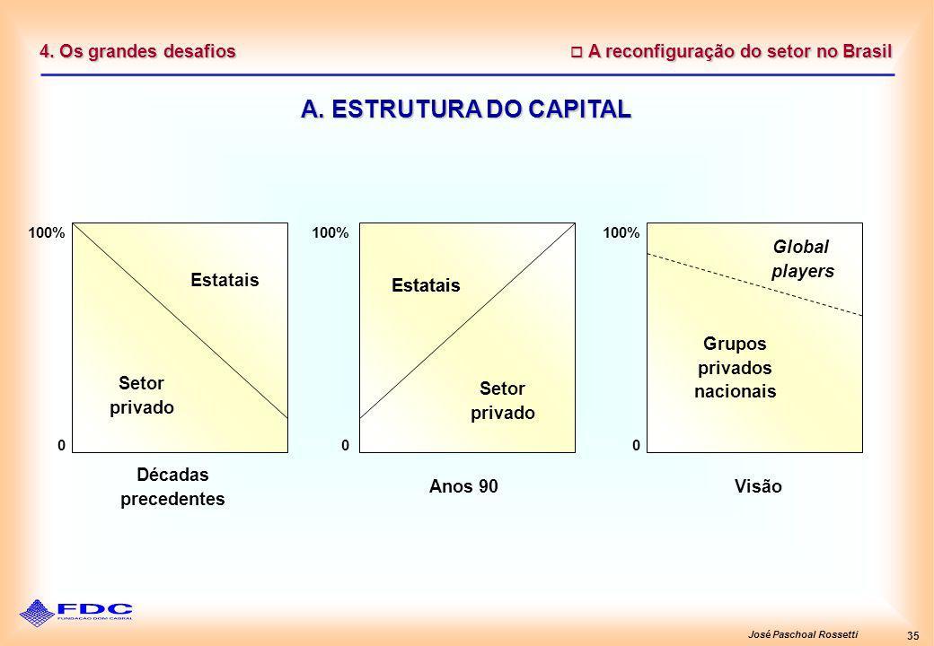 José Paschoal Rossetti 35 A reconfiguração do setor no Brasil A reconfiguração do setor no Brasil 4. Os grandes desafios A. ESTRUTURA DO CAPITAL 100%