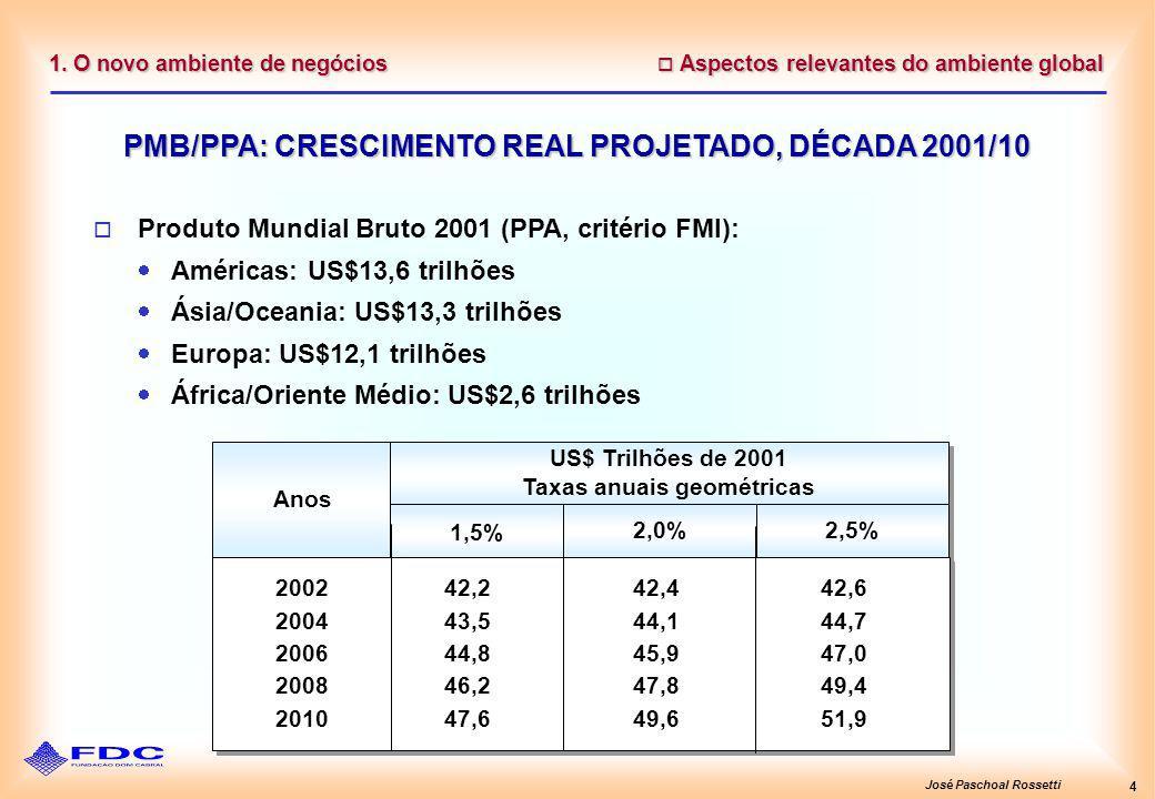 José Paschoal Rossetti 4 1. O novo ambiente de negócios Aspectos relevantes do ambiente global Aspectos relevantes do ambiente global PMB/PPA: CRESCIM