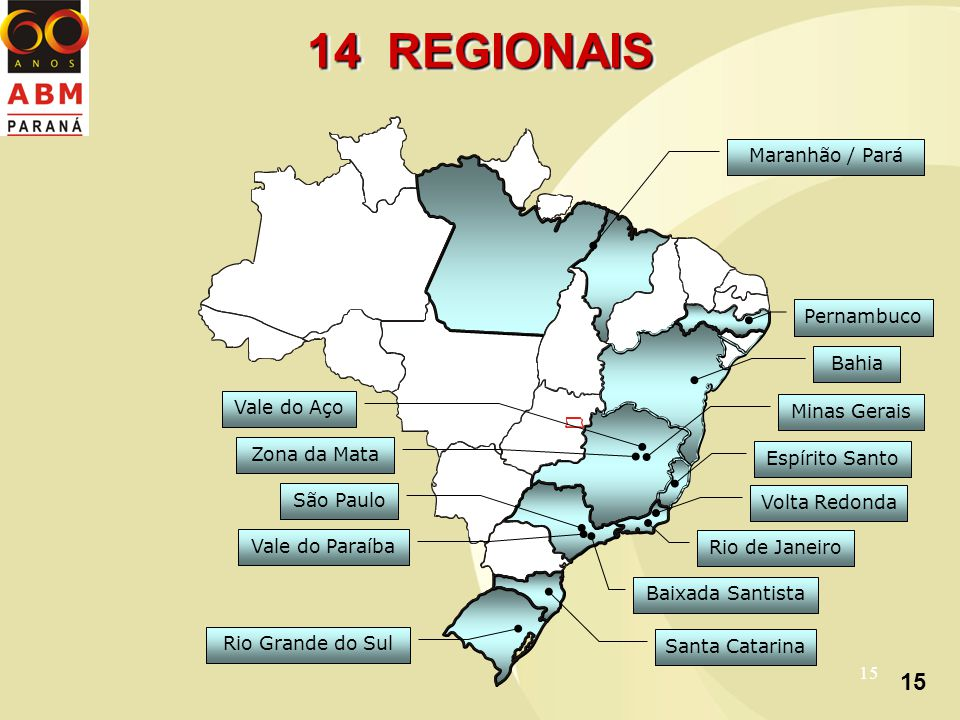 15 14 REGIONAIS Rio Grande do Sul Santa Catarina Baixada Santista São Paulo Vale do Paraíba Rio de Janeiro Espírito Santo Minas Gerais Zona da Mata Vale do Aço Bahia Pernambuco Volta Redonda Maranhão / Pará